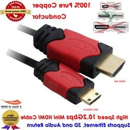 Short/Long Mini HDMI to HDMI Cable w/Ethernet For Camcorder
