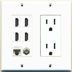 Wall Plates & Connectors 15A Power Outlet, 4 HDMI, Cat5e Eth