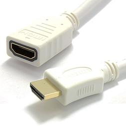 Kenable White HDMI 1.4 High Speed 3D TV Extension Lead Male