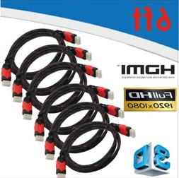YarMonth 6-Pack, High-Speed HDMI Cables 6 feet X6 w/Nylon Ne